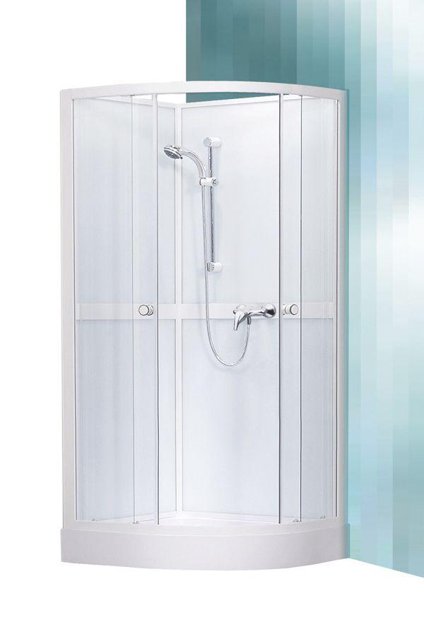 Roltechnik Sanipro Line SIMPLE 900 komplex üveg-kivitelezésű íves / sarok zuhanykabin hátfallal, zuhanytálcával , 90×90×205 cm-es, fehér profillal / transparent (átlátszó) üveggel, cikkszám: 4000249