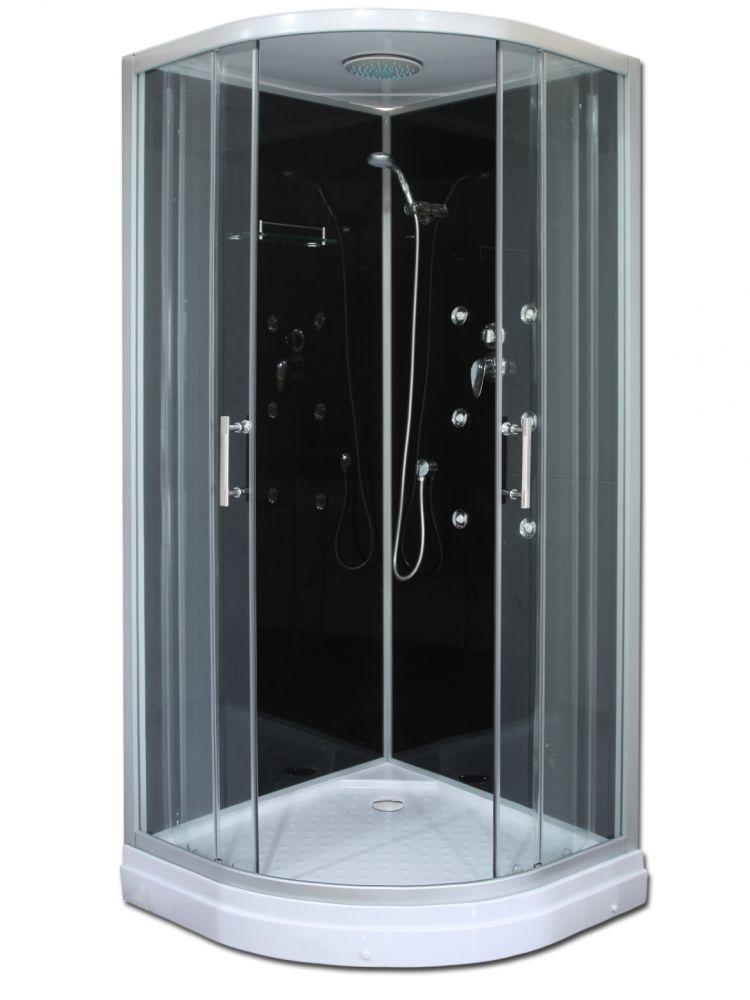 Roltechnik LUX BLACK komplex üveg-kivitelezésű HIDRO- MASSZÁZSKABIN / 90×90×215 cm / ezüst profillal / transparent (átlátszó) üveggel / cikkszám: 4000389 / Sanipro