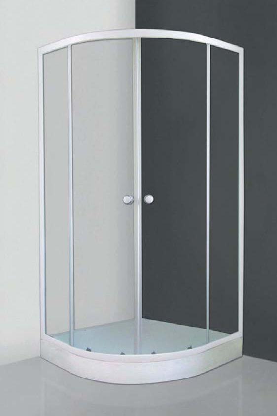 Roltechnik APOLLO SET/800 íves, keretes, görgős  zuhanykabin, önhordó zuhany tálcával és leeresztővel / 80x80 cm / fehér profillal / transparent (átlátszó) üveggel / cikkszám: 4000462