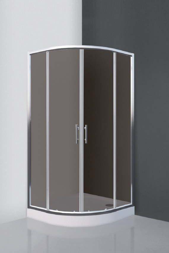 Roltechnik COFE/800 Íves, keretes, görgős 80x80 cm-es zuhanykabin zuhanytálca nélkül / brillant profillal / rauch betéttel / N0650 / Sanipro