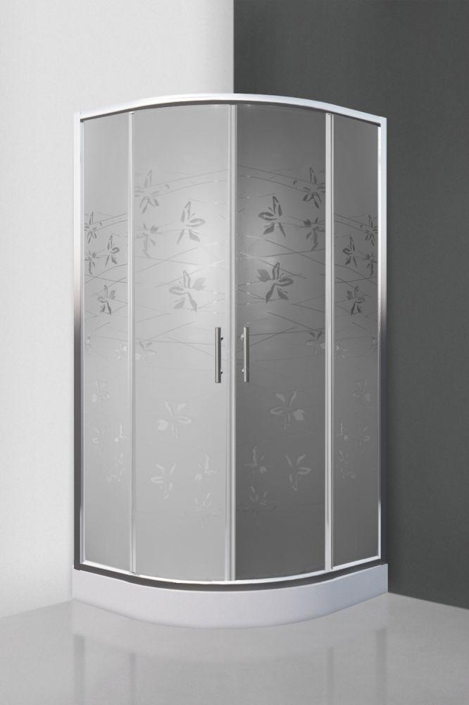 Roltechnik FLOWER NEO/800 íves, keretes, görgős zuhanykabin / 80x80 cm / brillant profillal / virágmintás üveggel / N0652 / Sanipro