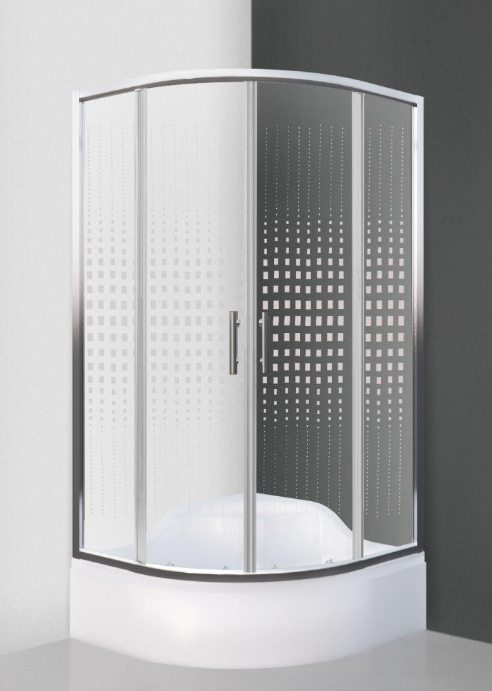 Roltechnik BUFFALO NEO/900, 90x90 cm-es íves, keretes,  görgős zuhanykabin / brillant profillal / transparent (átlátszó) üveggel + mintával / cikkszám: N0661 / Sanipro