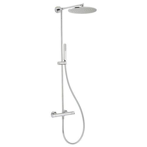 TEKA ICON zuhanyrendszer, termosztátos csaptelep, víztakarékos, vízkőmentes ovális zuhanyfej és Icon kézizuhany, fém gégecső 1,5 m  33.238.02.00 / 332380200