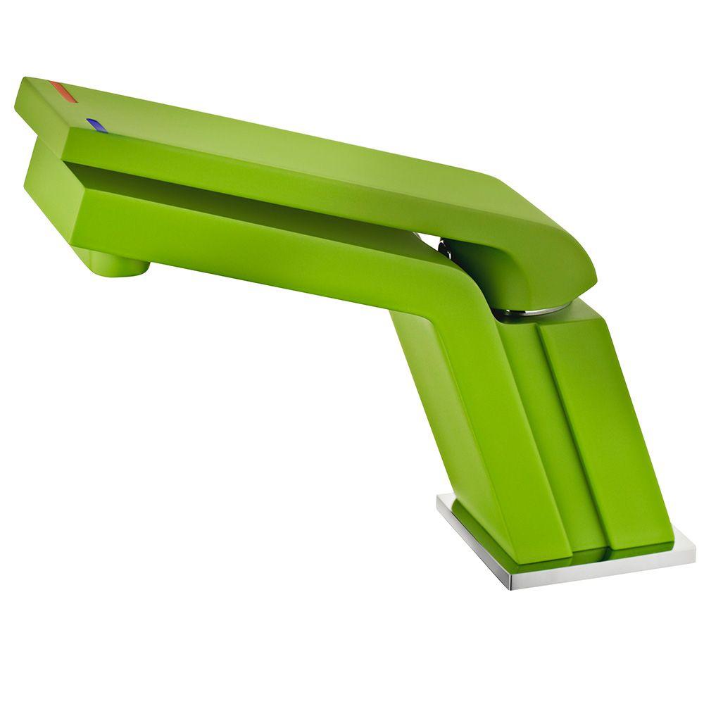 TEKA Icon mosdó csaptelep Cascade kifolyócsővel, vízkőmentes perlátor, ujjlenyomatmentes és fluoreszkáló felület, zöld 33.346.02.08 / 333460208
