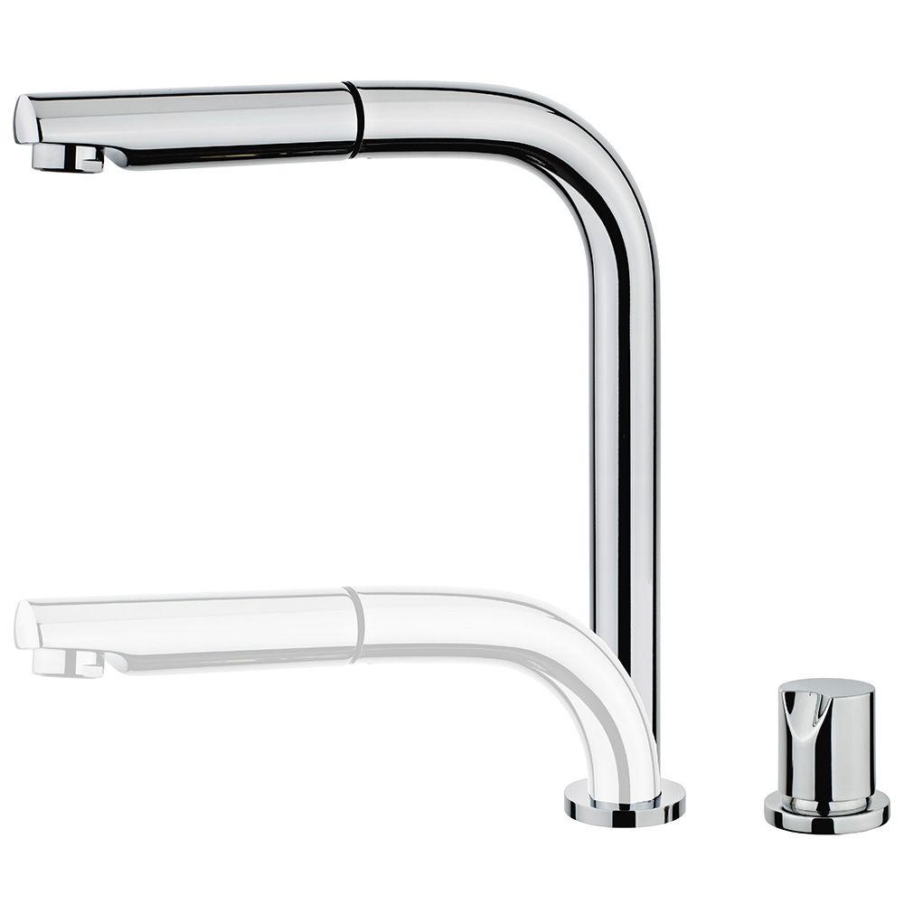 TEKA AUK 983 Mosogató csaptelep, vízkőmentes perlátor, besüllyeszthető és kihúzható fej, ablak alatti mosogató tálcához, forgatható, króm 50.983.02.00 / 509830200