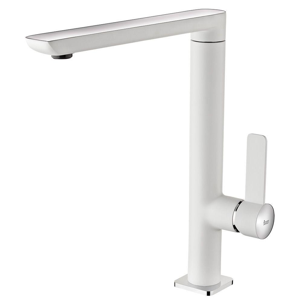TEKA FO 915 BC mosogató csaptelep, forgatható kifolyócső, vízkőmentes kifolyócsőbe integrált perlátor, magas ellenállóképességű festett felület, Fehér/Króm 62.915.02.0BC / 62915020BC