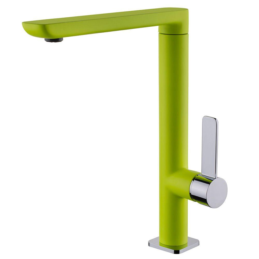 TEKA FO 915 FY mosogató csaptelep, forgatható kifolyócső, vízkőmentes kifolyócsőbe integrált perlátor, magas ellenállóképességű festett felület, Zöld/Króm 62.915.02.0FY / 62915020FY