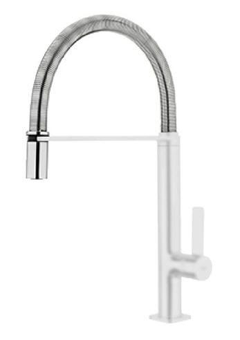 TEKA FO 939 Mosogató csaptelep, forgatható, rozsdamentes acél flexibilis kifolyócső, vízkőmentes perlátor, kihúzható fej / zuhanyfej, fehér 62.939.02.0W / 62939020W