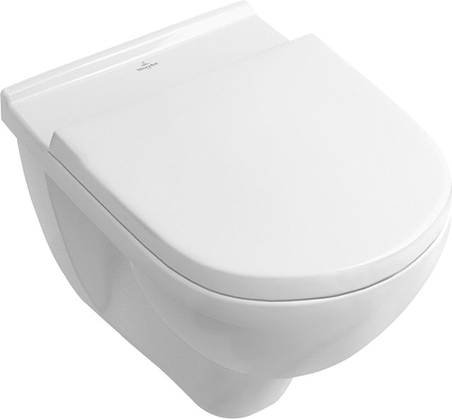 Villeroy & Boch O.NOVO falra szerelhető wc, ülőkével, perem nélküli DirectFlush kombipack 5660 HR 01 (5660HR01)