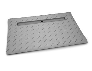 RADAWAY Téglalap alakú zuhanytálca folyókával a hosszú oldal mentén 119x79 / Burkolható zuhanytálcák / 5-7 mm vastagságú padló burkolatokhoz / aszimmetrikus zuhanytálca / 5DLA1208B-X