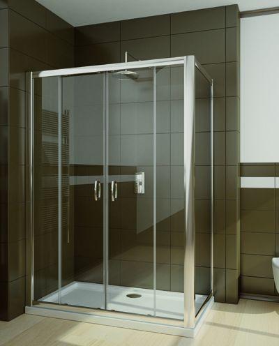 RADAWAY Premium Plus DWD+S 100 oldalfal 100x190 / 01 átlátszó üveg / 33423-01-01N