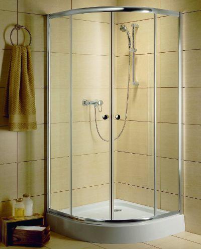 RADAWAY Dolphi Classic A 1850 negyedköríves / íves zuhanykabin  80x80 cm-es, 06 fabrik üveg / Króm keret, 30010-01-06