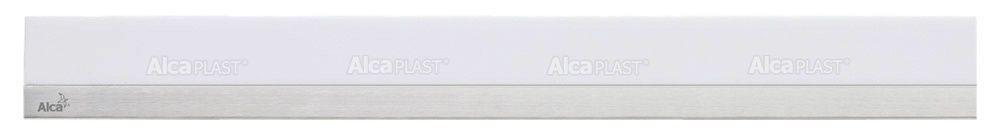 AlcaPLAST  MP1200 -650 MINERAL POSH  fehér műkő rács, matt, rozsdamentes acélcsíkkal 650 mm zuhanyfolyókához