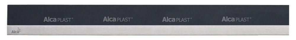 AlcaPLAST  MP1205 -850 MINERAL POSH  fekete műkő rács, matt, rozsdamentes acélcsíkkal 850 mm zuhanyfolyókához