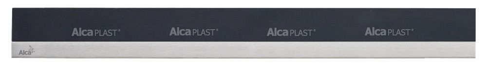 AlcaPLAST  MP1205 -1050 MINERAL POSH  fekete műkő rács, matt, rozsdamentes acélcsíkkal 1050 mm zuhanyfolyókához