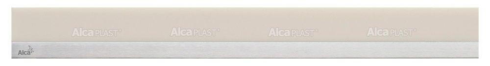 AlcaPLAST  MP1206 -750 MINERAL POSH  homok színű műkő rács, matt, rozsdamentes acélcsíkkal 750 mm zuhanyfolyókához