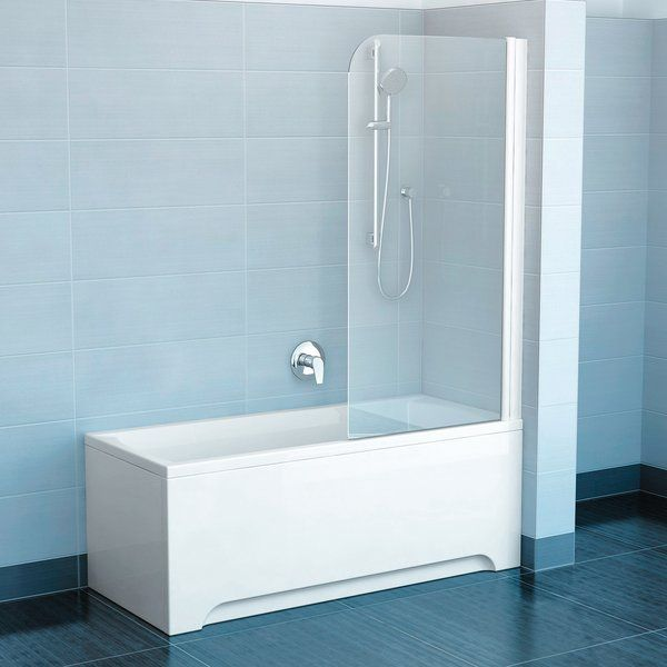RAVAK EVS1-75 Jobbos kádparaván nyitható üveggellappal fehér kerettel / TRANSPARENT edzett biztonsági üveggel 75 cm / 75P30100Z1