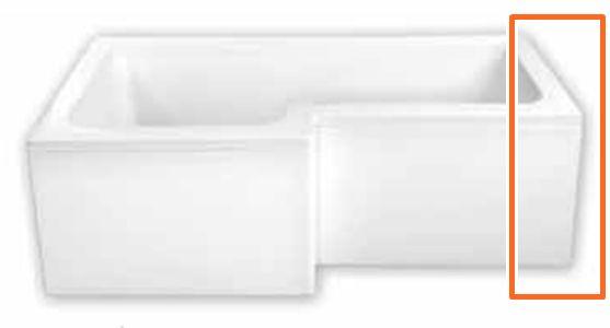 M-Acryl LINEA 150X70/85 cm aszimmetrikus akril kádhoz oldallap