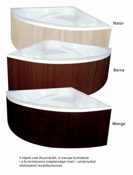 M-Acryl DARIA 160x105 cm Balos aszimmetrikus akril kádhoz Trópusi fa előlap / natúr színű