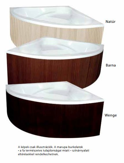M-Acryl DARIA 170x110 cm Balos aszimmetrikus akril kádhoz Trópusi fa előlap / natúr színű