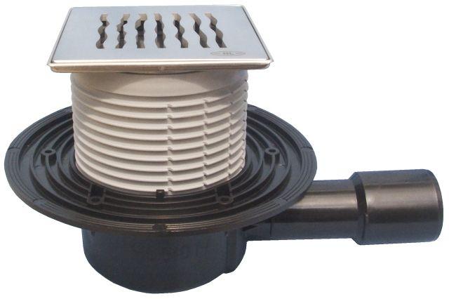 """HL510N-3123 Padlólefolyó DN50/75/110 vízszintes kimenettel, vízbűzzárral, 121x121mm KLICK-KLACK/115x115mm """"Orinoco"""" ráccsal"""