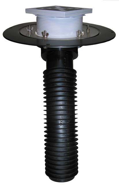 HL69B/1 Tetőlefolyó, DN110 tetőjavításhoz, 148x148mm/137x137mm lefolyóráccsal