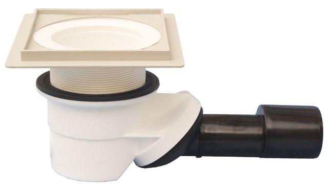 HL522KE.XL.0 Zuhanylefolyó DN40/50 elfordítható kimenettel, vízbűzzárral, 145x145mm/9mm csempegallérral, 121x121mm rácstartóval, lefolyórács nélkül, 30-50mm menetes gyűrűvel