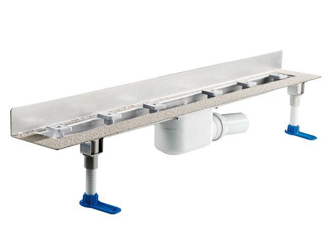 HL50W.0/130 Zuhanyfolyóka nemesacélból a padló és a fal találkozásába építve, DN50 kimenetű lefolyóval, szerelési segédanyagokkal, fedél nélkül. Beépítési hossz 1300mm.
