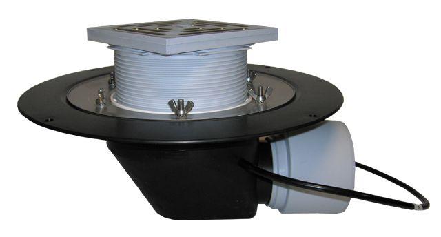 HL64.1B Tetőlefolyó vízszintes kimenettel, DN75/110 szigetelőkarimával, szorítóelemmel, lefolyóráccsal és 10-30W/230V fűtéssel