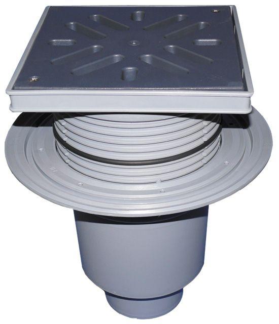HL616LW/1 Perfekt lefolyó DN110 függőleges kimenettel, szigetelő karimával, 244x244mm műanyag kerettel, 226x226mm műanyag ráccsal, vízbűzzárral, szemétfogó kosárral.