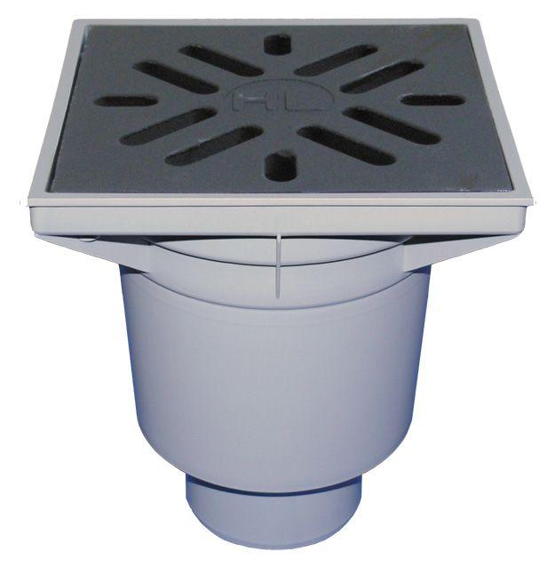 HL606W/5 Perfekt lefolyó DN160 függőleges kimenettel, 244x244mm műanyag kerettel, 226x226mm öntöttvas ráccsal, vízbűzzárral, szemétfogó kosárral.