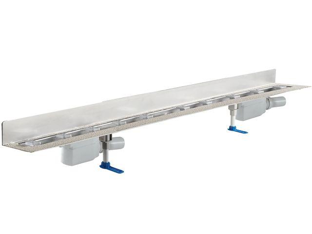 HL50W.0/180 Zuhanyfolyóka nemesacélból a padló és a fal találkozásába építve, DN50 kimenetű lefolyóval, szerelési segédanyagokkal, fedél nélkül. Beépítési hossz 1800mm.
