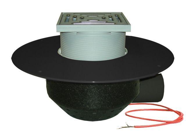 HL64.1BF/7 Lapostető lefolyó vízszintes DN75, PP szigetelő tárcsával, fűthető (10-30W/230V), járható tetőhöz - 148-148mm / 137x137mm