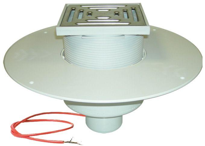 HL62.1BP/7 Lapostető lefolyó DN75, PVC karimával, fűtéssel (10-30W/230V), járható kivitel (148x148mm/137x137mm).