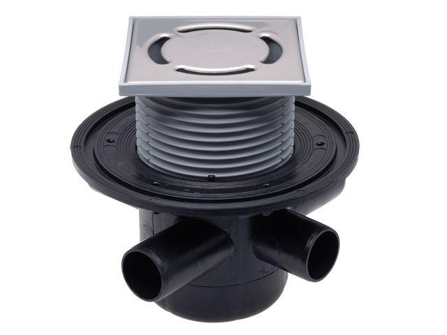 HL304 Padlólefolyó DN50 vízszintes kimenettel, szigetelő karimával, 3 db. DN40 bemenettel, 123x123mm/115x115mm