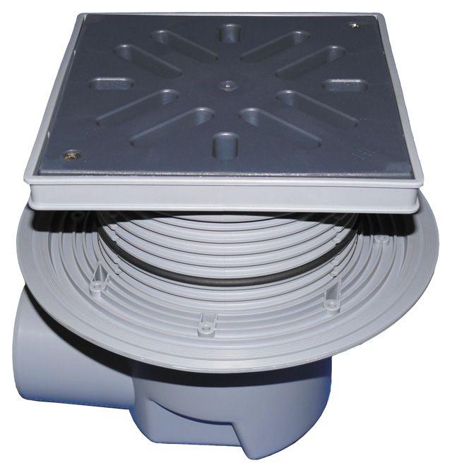 HL615L Perfekt lefolyó DN110 vízszintes kimenettel, szigetelő karimával, 244x244mm műanyag kerettel, 226x226mm műanyag ráccsal, mechanikus bűzzárral, szemétfogó kosárral.
