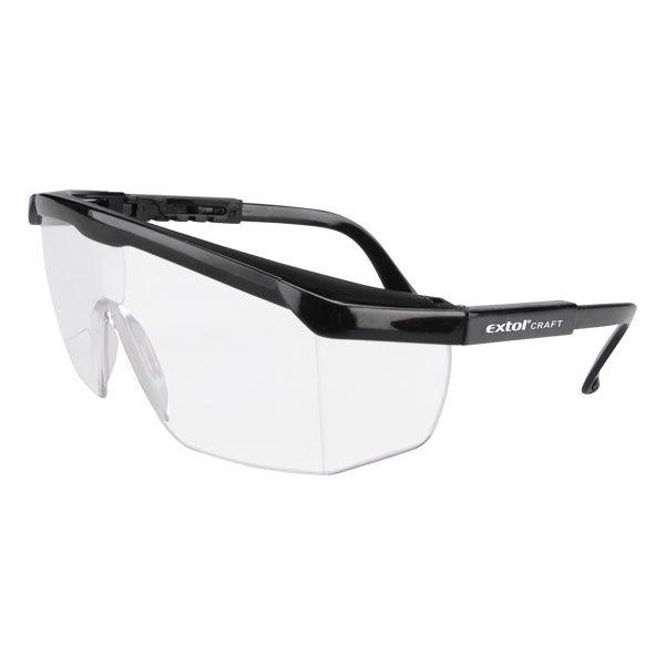 EXTOL CRAFT védőszemüveg, víztiszta, polikarbonát, állítható szárú, CE optikai osztály: 1, ütődés elleni védelmi osztály: F / 97301 (MB)