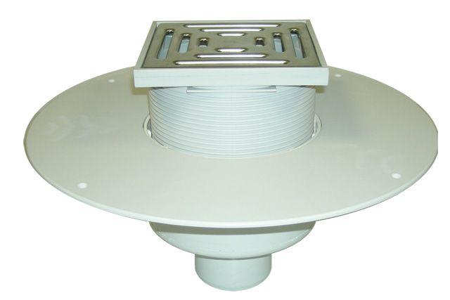HL62BP/1 Lapostető lefolyó DN110, PVC karimával, járható kivitel (148x148mm/137x137mm).