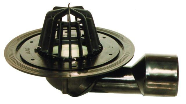 HL80.3 Tetőlefolyó DN50/75 elfordítható kimenettel, szigetelő karimával, lombkosárral