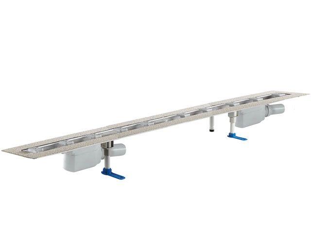HL50F.0/180 Sík kivitelű zuhanyfolyóka nemesacélból, DN50 kimenetű lefolyóval, szerelési segédanyagokkal, fedőléc nélkül. Beépítési hossz 1800mm.