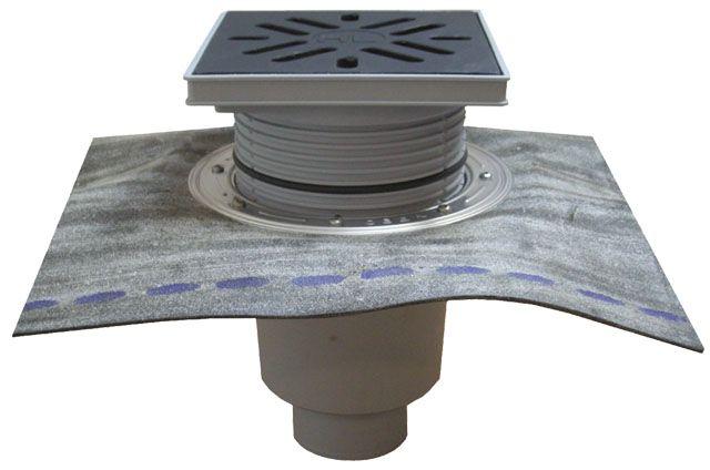 HL616HL/5 Perfekt lefolyó DN160 függőleges kimenettel, gyárilag felhegesztett bitumengallérral, 244x244mm műanyag kerettel, 226x226mm műanyag ráccsal, mechanikus bűzzárral, szemétfogó kosárral.