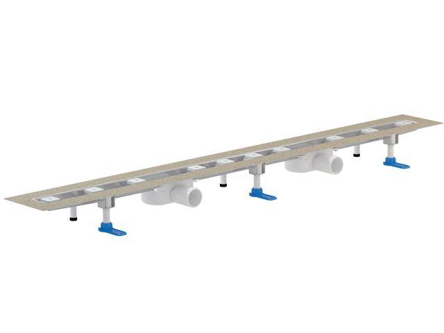 HL50FU.0/140 Különlegesen alacsony nemesacél zuhanyfolyóka kis padlómagassághoz, DN50 lefolyóval, szerelési anyagokkal, védőfedéllel, látható rész nélkül. Beépítési hossz: 1400mm