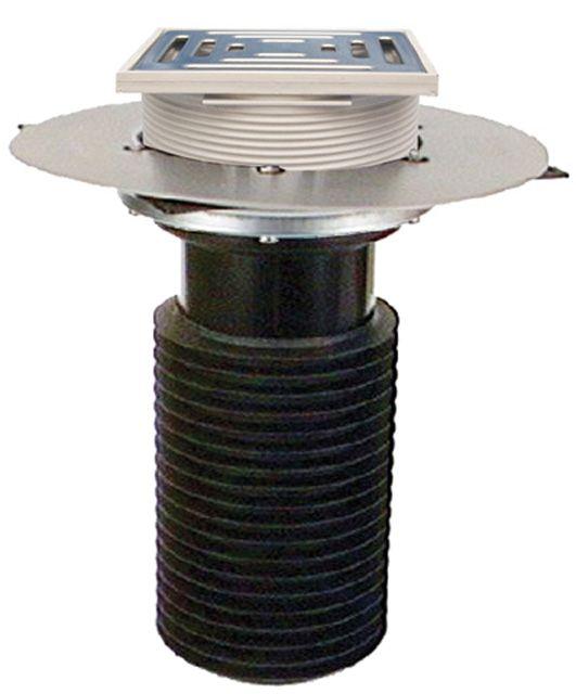 HL69BP/5 Lapostető lefolyó felújításhoz, DN160 csőhöz, PVC karimával, járható kivitel (148x148mm/137x137mm).