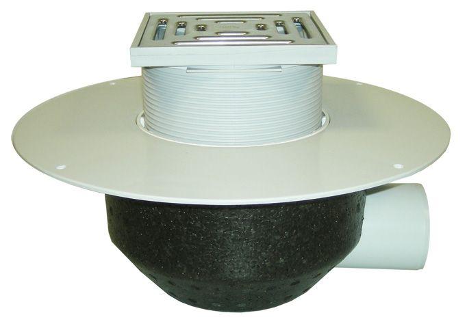HL64BP/1 Lapostető lefolyó vízszintes DN110, PVC szigetelő tárcsával, járható tetőhöz - 148-148mm / 137x137mm