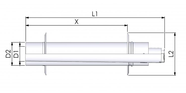 Tricox AAPA60 Alu/Alu parapet 80/125mm 2db takaró lemezzel