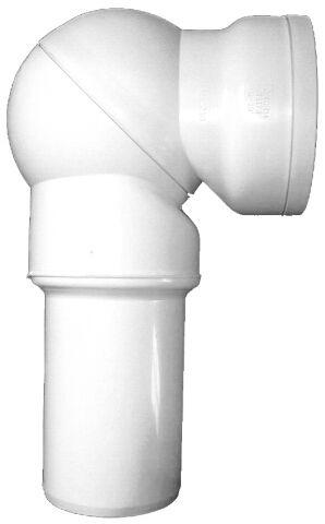 HL210P WC-csatlakozó DN110, 0 – 90° -ig fokozat nélkül szögbe állítható, ajakos tömítéssel PVC-ből