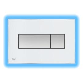 AlcaPLAST M1470-AEZ111, Nyomógomb előtétfalas rendszerekhez színes betéttel (Fehér) és háttérvilágítással (Kék)