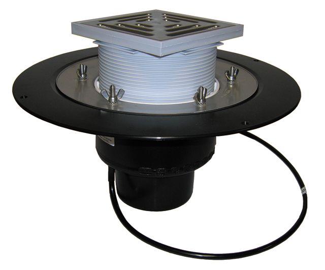 HL62.1B/5 Tetőlefolyó DN160 szigetelőkarimával, szorítóelemmel, lefolyóráccsal és 10-30W/230V fűtéssel