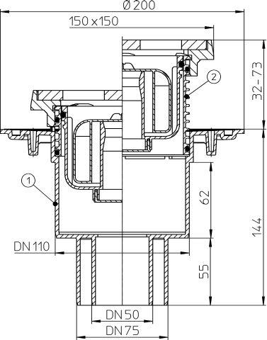 """HL310NPrG Padlólefolyó DN50/75/110 függőleges kimenettel, szigetelő karimával, """"Primus"""" bűzzárral, 150x150mm öntöttvas rácstartóval, és ráccsal"""