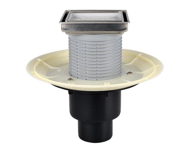 HL310NPr-3020 Padlólefolyó DN50/75/110 függőleges csatlakozóval, Primus száraz bűzzárral, becsempézhető lefolyólappal 132x132mm/ 112x112mm